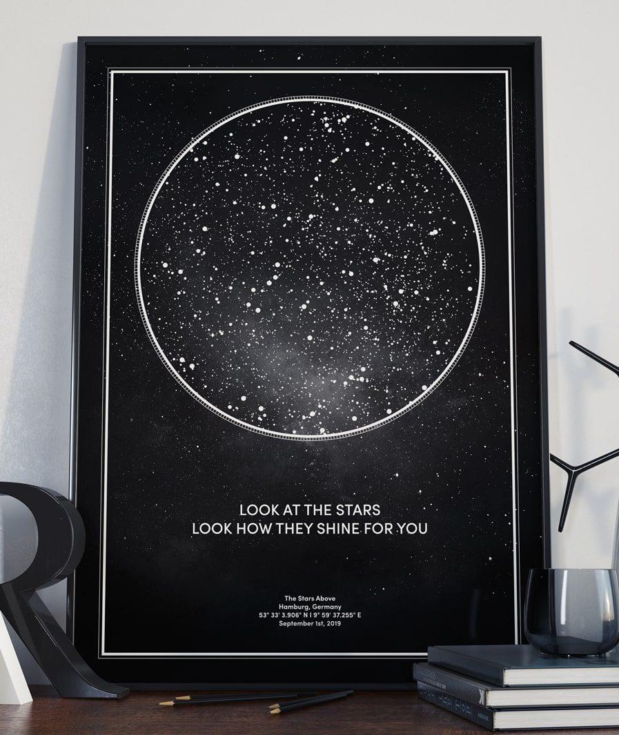 sternenkarte personalisiert sternenhimmel poster bild datum